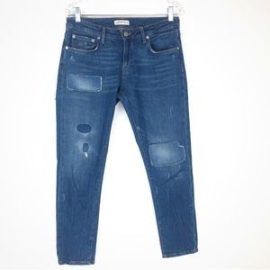 Zara Woman Ankle Jeans with Patches Sz 8 Med Wash